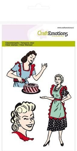 CraftEmotions clearstamps A6 - 3 lady`s Fifties Kitchen (130501/1022*)