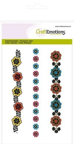CraftEmotions clearstamps A6 - bloemenrand Folklore (130501/1031*)