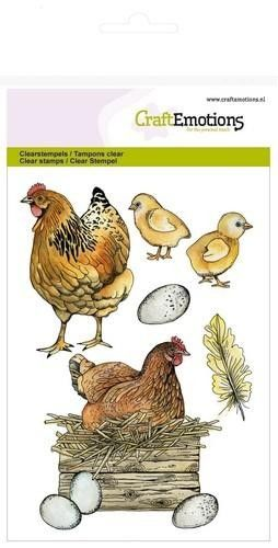CraftEmotions clearstamps A6 - kip met kuikens (130501/1269)