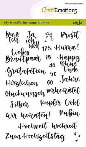 CraftEmotions clearstamps A6 - handletter - Hochzeit (DE) Carla Kamphuis (130501/1865)