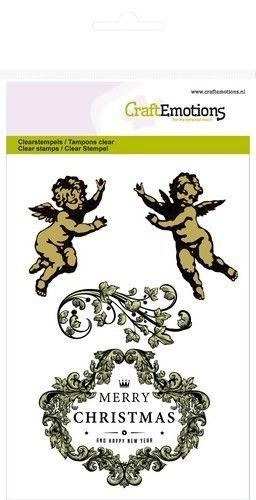 CraftEmotions clearstamps A6 - engeltjes ornament label Purple Holiday (130501/1054)