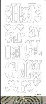 Stickervel - Girl/Boy: Glitter goud