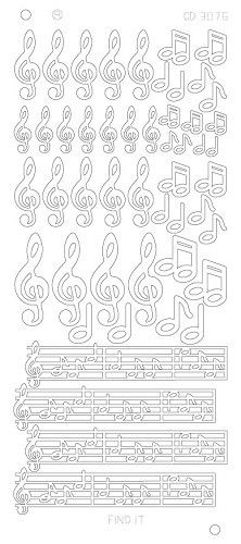 Music notes - Zilver