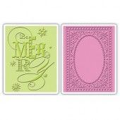 1 ST (2 ST) Tex. Impr. Emb. Folders Be Merry Set 658749 Brenda Walton*