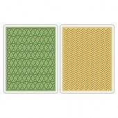 Sizzix Text.Fades Embossing Folders Chevron&Lattice Set (2pc) 659448 Tim Holtz