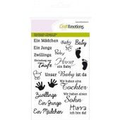 CraftEmotions clearstamps A6 - tekst DE Baby (130501/1156*)