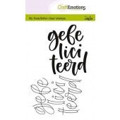 CraftEmotions clearstamps A6 - handletter - gefeliciteerd (NL) (130501/1825)