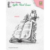 Nellie`s Choice Clearstamp - Idyllic Floral Scenes Boek met uil IFS013 100x113mm (03-19)*