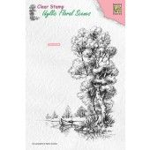 Nellie`s Choice Clearstamp - Idyllic Floral Scenes Boom met boot IFS014 100x140mm (03-19)*