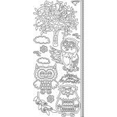 Stickervel - Owls Tree - Zilver