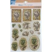 3D Push out - Glitter Decoupage - Bloemen 1