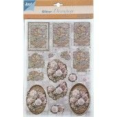 3D Push out - Glitter Decoupage - Bloemen 3
