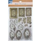 3D Push out - Glitter Decoupage - Bloemen 4