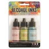 Ranger Alcohol Ink Kits Countryside Shell Pink,Willow,Clody TAK25924 Tim Holtz 3x15ml