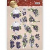 3D Knipvel - Precious Marieke - Merry and Bright - Bouquets in purple