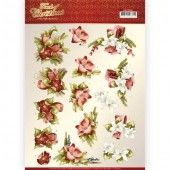 3D knipvel - Precious Marieke - Touch of Christmas - Red Flowers