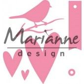 Marianne Design -  Collectables - Giftwrapping - Karin`s bird, hearts & tag (COL1443)