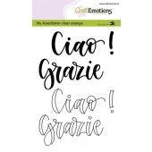 CraftEmotions clearstamps A6 - handletter - Ciao - Grazie (IT) Carla Kamphuis (09-19) (130501/1883)