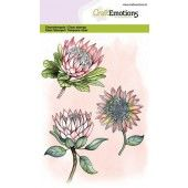 CraftEmotions clearstamps A6 - protea 3 bloemen GB (06-20) (130501/1324)
