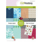 CraftEmotions Design Paper Bugs & flowers 12 vel + push out vel - A5 A5 12+1 (03-21) (118040/1001)