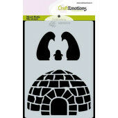 CraftEmotions Mask stencil Iglo en penguins A6 Carla Creaties (10-20)