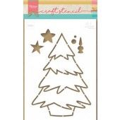 Marianne D Craft Stencil kerstboom by Marleen PS8046 21x15 cm (11-19)*