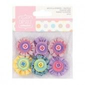 Mini fabric flowers - Spots & stripes pastels