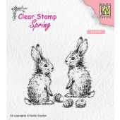 Nellies Choice Clearstempel - lente, twee hazen 60x60mm (SPCS006)*