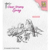 Nellies Choice Clearstempel - lente, twee vogels - 75x50mm (03-19) (SPCS011)*
