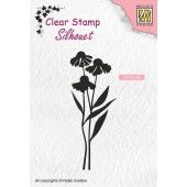 Nellies Choice Clearstempel - Silhouette madeliefjes - 28x70mm (03-19) (SIL054)*