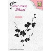 Nellies Choice Clearstempel - Silhouette tak met bloemen - 48x70mm (03-19) (SIL053)*