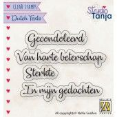 Nellies Choice Clearstempel Tekst (NL) - Gecondoleerd etc.. 21x7,5 - 62x9,6mm (10-19) (DTCS029)*