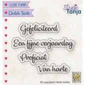 Nellies Choice Clearstempel Tekst (NL) - Proficiat etc.. 27x9,7 -60x9mm (10-19) (DTCS027)*