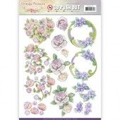 3D Pushout -  Jeanine's Art - Vintage Flowers - Romantic Purple