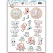 3D Pushout - Yvonne Creations - Welcome Baby - Little Elephants