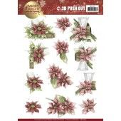 3D Pushout - Precious Marieke -- Merry and Bright Christmas - Poinsettia in Red