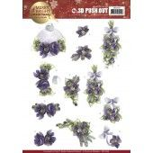 3D Pushout - Precious Marieke - Merry and Bright Christmas - Bouquets in Purple