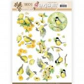3D Pushout -  Jeanine's Art - Birds and Flowers - Yellow birds