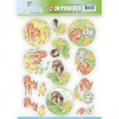 3D Pushout -  Jeanine's Art - Young Animals - Ducklings and Rabbits