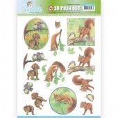 3D Pushout -  Jeanine's Art - Young Animals - In the Forest