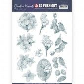 3D Pushout - Jeanine's Art - Sensitive Moments - Grey Freesias