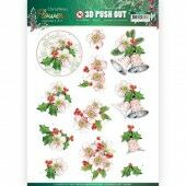 3D Pushout - Jeanine's Art - Christmas Flowers - Pink Christmas Flowers