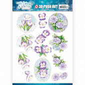3D Pushout - Jeanine's Art - The colours of winter - Purple winter flowers